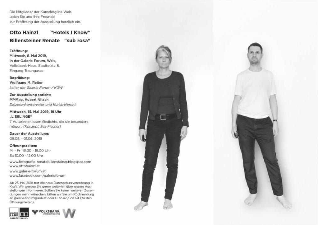 Einladung Ausstellung Galerie Forum Wels sub rosa und re use Renate Billensteiner