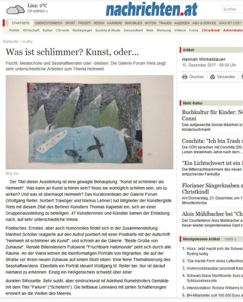ist Kunst schlimmer als Heimweh Ausstellung in der Galerie Forum Wels Nachrichten OOE Kultur Bericht Renate Billensteiner