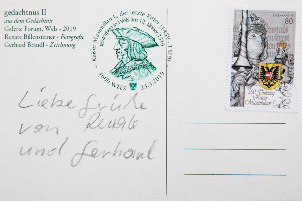 Postkarte Rückseite Ausstellung im gedächtnis 2 Gemeinschaftsprojekt Billensteiner Renate und Gerhard Brandl