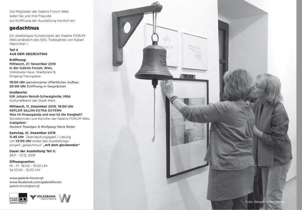 aus dem gedachtnis Eröffnung Ausstellung Galerie Forum Wels
